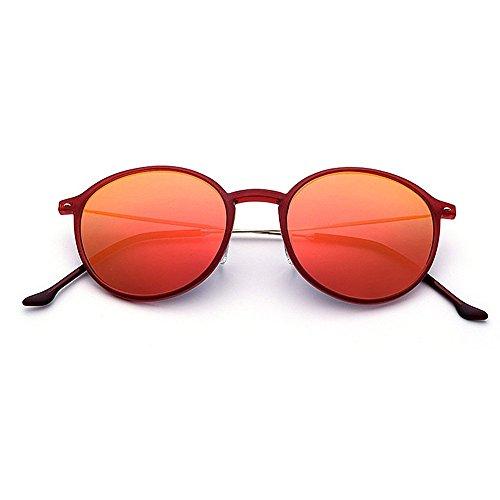 XHCP Frauen Klassische Sonnenbrille Nette Frauen Runde Form Licht Sonnenbrille TR90 Rahmen UV Schutz Sonnenbrille Für Fahren Urlaub Strand Outdoor Sonnenbrille (Farbe: Rot)