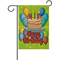 NA Garden Flag Yard 12x18 in Happy Birthday Double Sided Decorative Party Cake Balloons Candles Design Holiday Party Best Birthday Gift