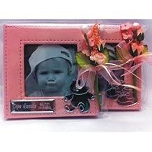 Marcos fotos para invitados bautizo niña GRABADOS PERSONALIZADOS pequeños bebe (pack 12 unidades) rosas