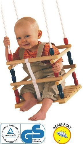 Gitterschaukel, Schaukel für Kleinkinder, ca. 30x30cm mit Sicherungsgurt, ideal für den Garten