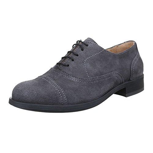 Herren Schuhe, 8070, HALBSCHUHE LEDER SCHNÜRSCHUHE Grau