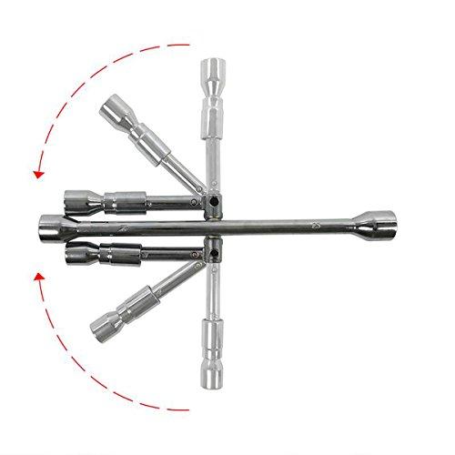 Clé à écrous de roue 17 mm à 19 mm Roue Croix Acier de qualité de clé pliable Clé en croix