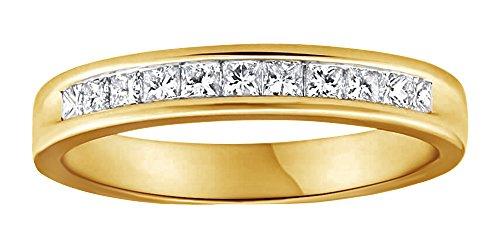 1/2carati taglio princess bianco naturale diamante fede nuziale in oro massiccio 10ct (0.5cttw) e 10 ct oro giallo, 24,5, colore: yellow, cod. mno-uk-m-cmr66605-yg-v 1/2