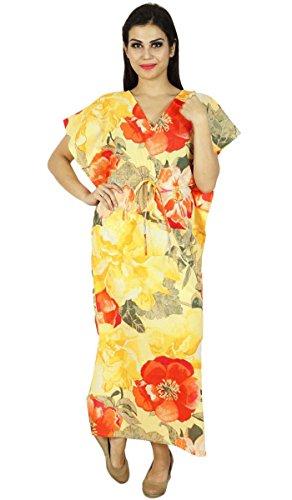Femmes Phagun Caftan Robe Imprimée Maxi Vêtement De Nuitcoton Bohemian Jaune Et Orange