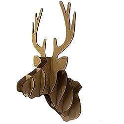 DIY cartón Navidad Cabeza De Ciervo Esculturas de animales decoración de pared Hanging Kits de montaje en pared, marrón, 18 cm x 16 cm x 33 cm