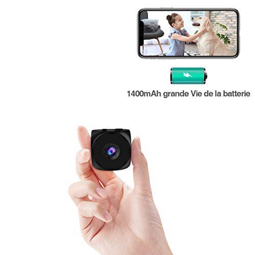 Mini Camera Espion,KEAN Micro Caméra de Surveillance WiFi sans Fil sur 5 Heures Batteries FHD Camera Miniature IP Cachée Spy avec Vision Nocturne et Détection de Mouvement pour de Sécurité Intérieure