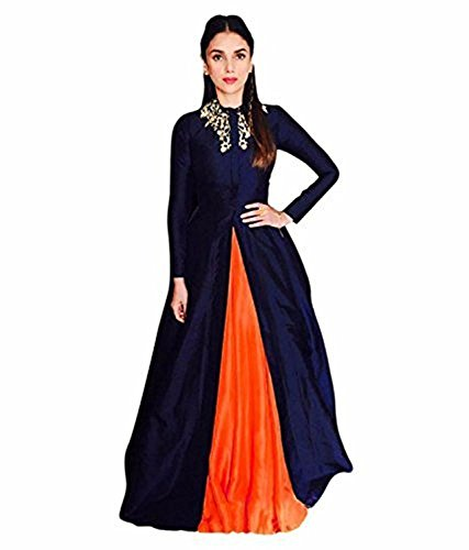 Unique Stores Girl's Birthday Party Wear Semi Stitched Salwars Suit Gown (Orange)