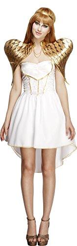 Fever, Damen Glamouröses Engel Kostüm, Kleid mit Unterrock, Stirnband und Flügel, Größe: L, (Angel Kostüme Für Erwachsene Heaven's)