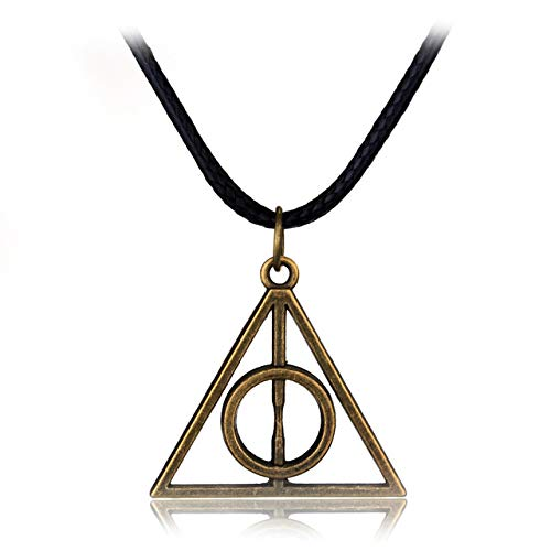 El Regalo Harry Potter Deathly Hallows Rotating Triangle Metal Necklace for Boys and Girls (Metallic Golden)