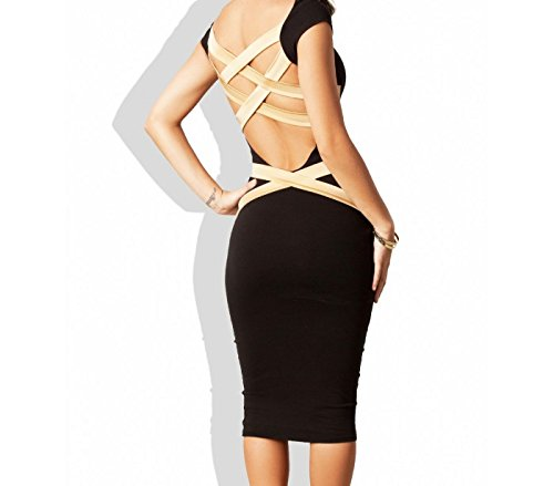 Vestido de mujer ajustado de tubo color negro con espalda de rayas doradas mod. SOLANA - Moda femenina mws1258 (TALLA