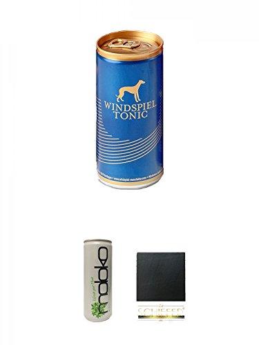 Windspiel Tonic Water 0,2l Dose 1 Stück + Moloko Softdrink 0,25 Liter + Schiefer Glasuntersetzer eckig ca. 9,5 cm Durchmesser