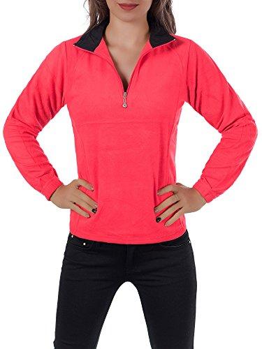 Diva-Jeans L708 Damen Fleece Pullover Micropolar Sweatshirt Hoodie Jacke Langarm Half Zip, Farben:Rot, Größen:XXL Micropolar-fleece