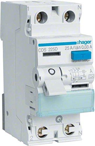 Price comparison product image Hager FI-Schutzschalter 2pol.25A/30mA,6kA,QC CDS225D