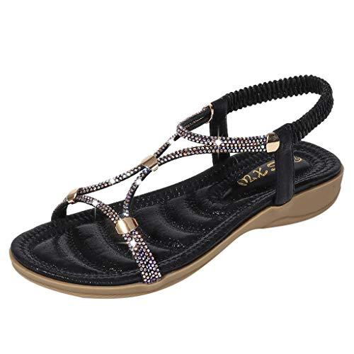 Sandalen Damen Sommer GroßE Retro Bohemia Summer Crystal Flache Sandalen Mit Dickem Boden Beach Flops Flip Casual Shoes(Schwarz,38)