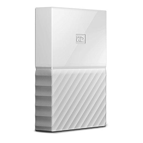 WD My Passport 1 TB, mobile externe Festplatte (6,4 cm (2,5 Zoll), mit Kennwortschutz, Standard Oberfläche Weiß, WDBYNN0010BWT-WESN