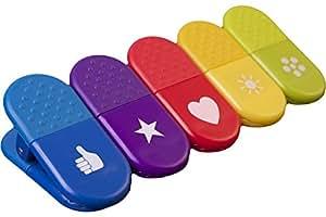 5 Küchen Tütenklammern bzw. Magnet-Clips in allen 5 Farben und mit Danke-Zeichen (Alle Farben) - Dankeschön Geschenk