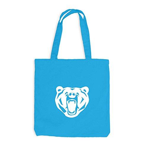 Jutebeutel - The Bear - Natur Bär Design Surfblau