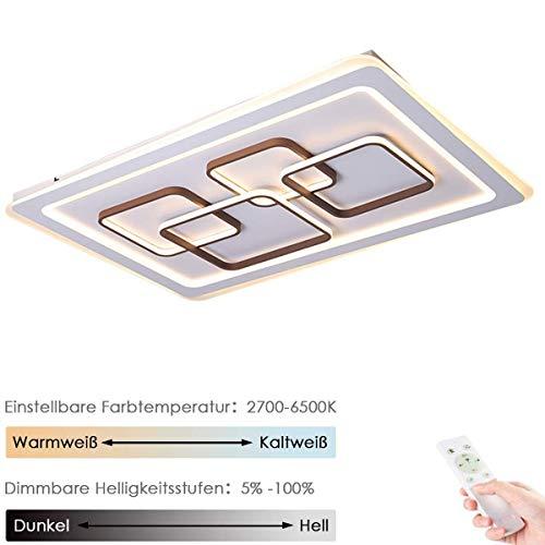 Gpzj 120W Moderne LED Deckenleuchte 120cm Wohnzimmer Deckenleuchte Dimmbare Schlafzimmerleuchte 4-Quadrat Rechteck Design Aluminium Acryl Fernbedienung Flur Arbeitszimmer Deckenleuchte