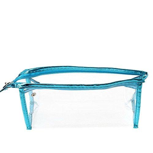 Babysbreath Sacs de maquillage transparents Sac de toilette étanche pour toilettes cosmétiques lac bleu