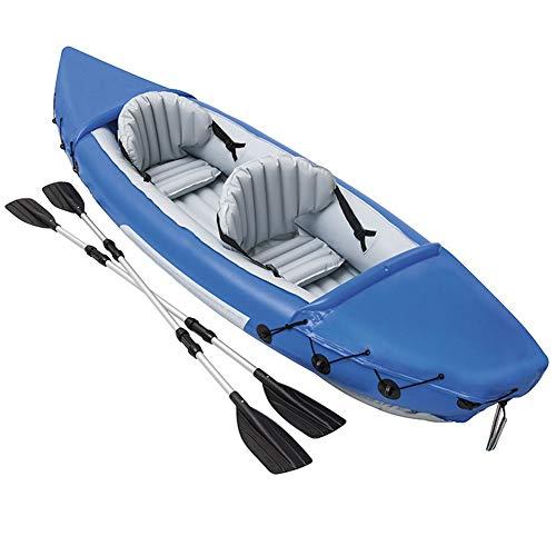 ZOUBIAG Aufblasbarer Erwachsene Kajak des Doppelten Fischerbootes Mit Einem Paar Aluminium Paddeln Für Seefreizeitstromschnellen (Color : Blue, Size : 2-Person Boat)