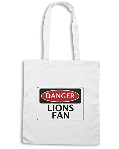 T-Shirtshock - Borsa Shopping WC0298 DANGER LIONS FAN FAKE FUNNY SAFETY SIGN SIGNAGE Bianco