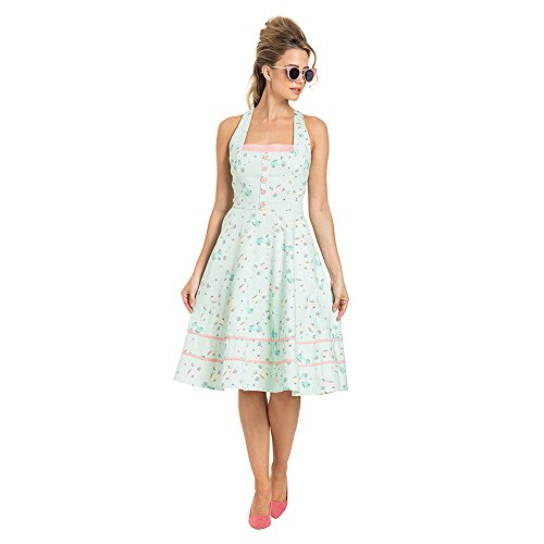 Voodoo Vixen Kleid Eva Retro Scooter Print Flared Dress 8495 (M, Mehrfarbig)