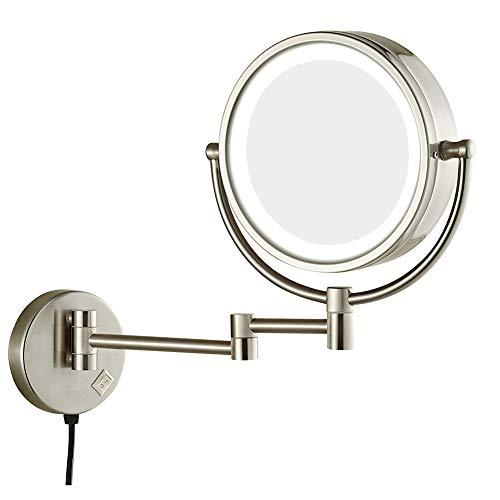 LED beleuchteter Schminkspiegel zur Wandmontage, runder Badezimmerspiegel drehbar, Kosmetikspiegel mit 5-facher Vergrößerung, 360 ° drehbar, ausziehbarer beidseitiger Schminkspiegel (8 '') für Spa und -