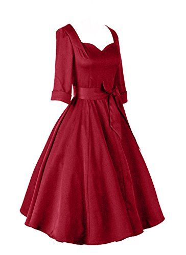 iLover 40s 50s 60s robe manches 3/4 de danse partie de bal rockabilly millésime WineRed