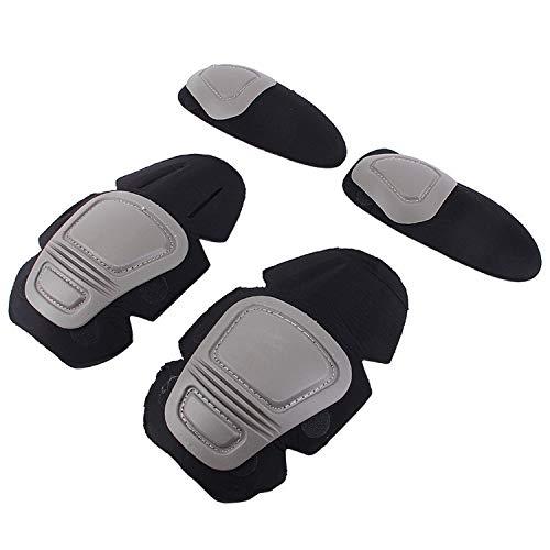 Tactical Knie und Ellenbogen Protektor Pad für Paintball Softair Combat Uniform Militär Anzug 2Knieschützer & 2Ellenbogenschoner/Set, grau