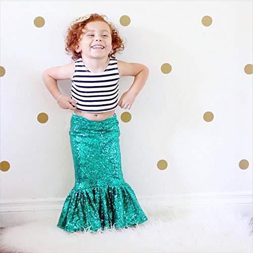 Die kleine Meerjungfrau Kleidung für Mädchen Grün Röcke Kleinkind Kinder Party kleider Höhe 100 cm (Die Kleine Meerjungfrau-dekor)