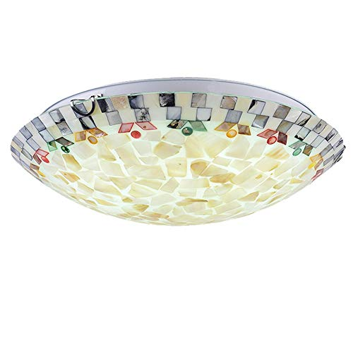 Klassisch Tiffany Stil Runde Deckenleuchte, LED Mittelmeer Stil Schale Design Deckenlampe Schlafzimmer Kinderzimmer Dekor Beleuchtung-12w 30x11cm -