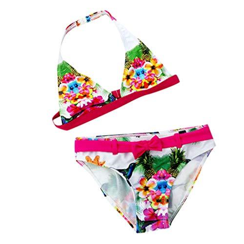 Costume Due Pezzi Estivi Sexy Regolare Bikini con Fantasia Full Print Senza Spalla Mare Piscina Bambina novità Prodotto Bikini Set JuniorVacation Abbigliamento da 6 a 11 Anni (9-10 Anni, Blu)