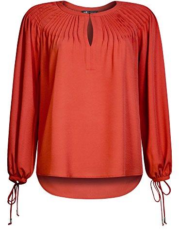 oodji Collection Damen Lässige Bluse mit Geschnürten Bündchen Rot (4500N)