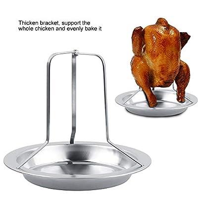 Hühnerbräterständer - Vertikaler Edelstahlbräter mit klappbarem Hühnerhalter BBQ Hühnerbräterständer mit Auffangwanne für Backofen oder Grill