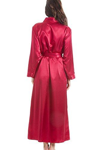 Luxuriöser Damen Morgenmantel lang aus Satin Rot Rot