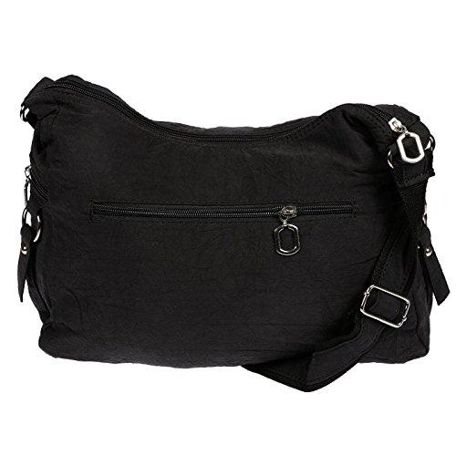 Christian Wippermann Damenhandtasche Schultertasche aus Canvas Schwarz Beige