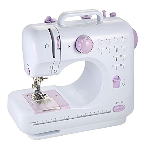 Farway LED Electronic Sewing Machine 12 Stitches Multifunction Household Electric Micro Free-Arm Crafting Mending Machine Double Thread Double Speed with Light Foot Pedal (Lavender).