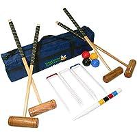 Kit Completo De Croquet Para Cuatro Jugadores: Mazos De Tamaño Estándar De Madera Maciza Y Gruesos Aros De Acero En Una Bolsa De Lujo