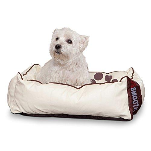 Smoothy Hundekorb aus Leder; Hunde-Körbchen; Hundebett für Luxus Vierbeiner; Beige-Weiß Größe S - 2