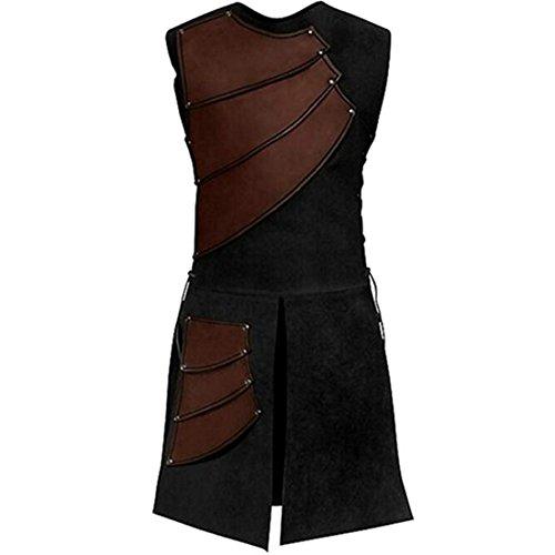 Partiss Herren Mittelalter Renaissance Sleeveless Lace up Weste Weste,XL,Brown