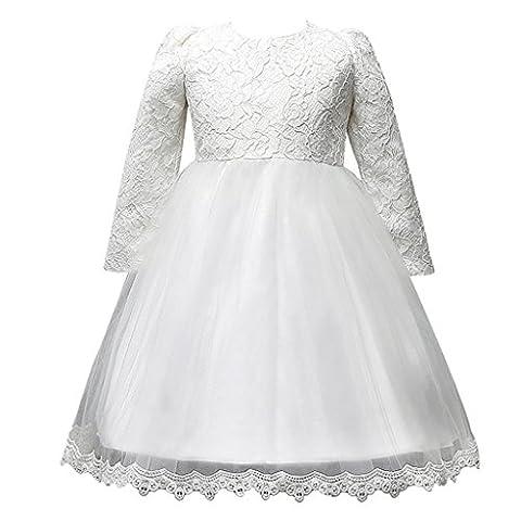 Stickerei Langärmeliges Abendkleid Mädchen Prinzessin Rock(Weiß,130)