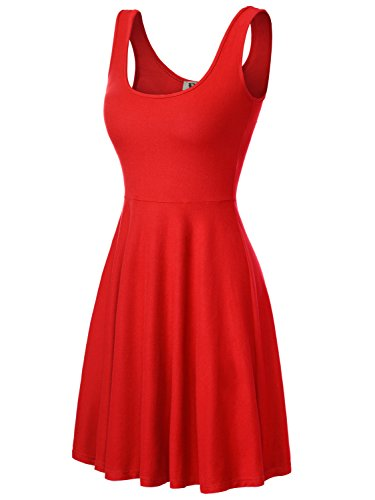 DJT Damen Vintage Sommerkleid Traeger mit Flatterndem Rock Blumenmuster Rot-2 L -