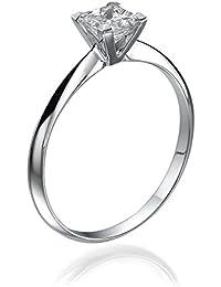 14K Gold / White Princess Cut Diamond Simulated Swarovski Pure Brilliance Zirconia Engagement Ring (0.40 cttw)
