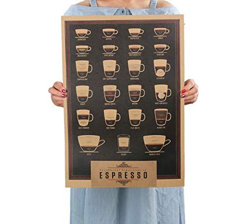 hfwh Wandaufkleber Italien Kaffee Espresso Passende Diagramm Papier Poster Bild Cafe Küche Dekor 51x35.5cm (Espresso-diagramm)