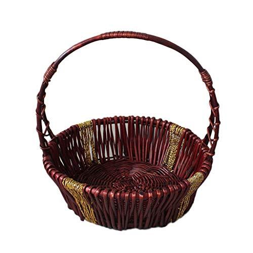 DJSMycl Picknickkorb Mit Kleinem Griff Für Obstkorb Wicker 38 * 12CM Picknickkorb (Color : A) (Weidenkorb Mit Liner Kleine)