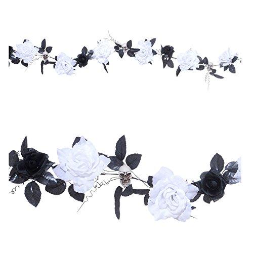 Kostüm Fancy Flower Dress Rose - Widmann 7870G Blumengirlande mit Totenköpfen und leuchtenden Blumen, 180 cm