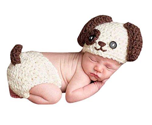 Happy Cherry Neugeborenes Baby Hündchen Figur Foto Kostüm Fotografie Prop Handarbeit Bekleidungsset Fotoshooting Stricken Tiere Kostüm Baby Junge Trikot Foto Outfits Requisiten Für 3-4 (Baby Tier Kostüm)