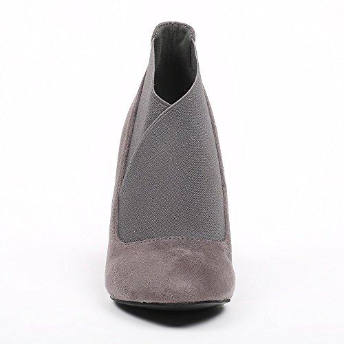 Ideal Shoes–Scarponcini effetto camoscio con elastico ombrello Grigio