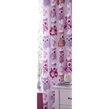 Catherine Lansfield - Cortinas (2 unidades, tamaño pequeño, 60 % algodón y 40 % poliéster), diseño de lechuzas, color rosa