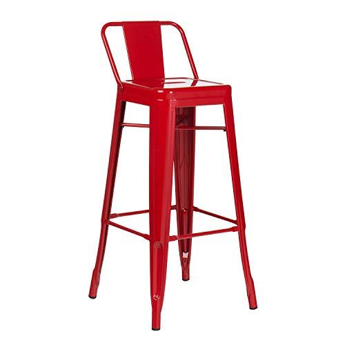 SKLUM Taburete Alto con Respaldo LIX Rojo - (Elige Color)